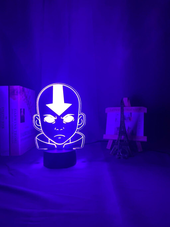 H21411b210065481bbb64872eedfc4d07b Luminária Acrílico 3d Lâmpada Nightlight Avatar The Last Airbender para As Crianças Decoração Do Quarto Da Criança A Lenda de Aang Figura Mesa Appa luz da noite
