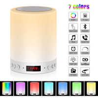 Veilleuse colorée avec haut-parleur Bluetooth intelligent Portable sans fil contrôle tactile lampe de Table de bureau TF carte couleur LED Luminaria