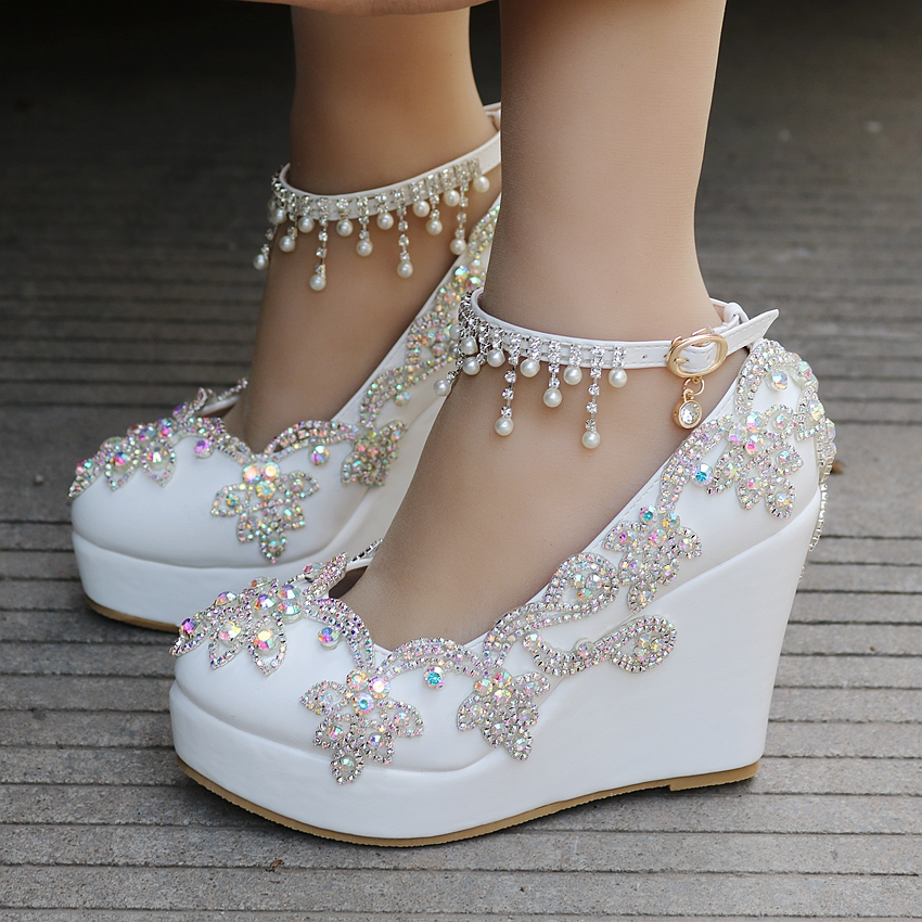 Crystal Queen Rhinestone Wedge Pumps Shoes Women Sweet Luxury Platform Wedges Shoes Wedding Party Ankle Strap High Heels