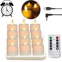 Luzes de chá flameless a pilhas recarregáveis do diodo emissor de luz do controle remoto que cintilam tealights realistas com pavio em movimento