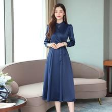2019 Retro Long Dress Woman High Waist Party Elegant Sleeve Lace Up Casual Autumn Vestidos Clothing S-2XL