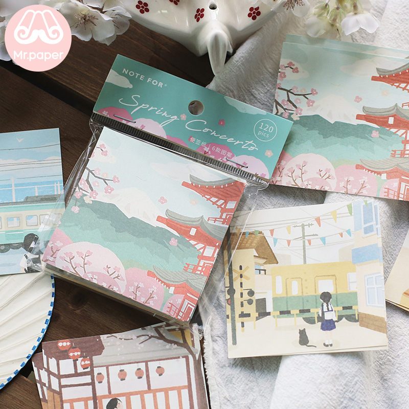 Mr.paper 8 Designs 120 Pcs Spring Flower Cloud Memo Pad Kawaii Stationery Notes Portable Notepad School Office Supply Papeleria