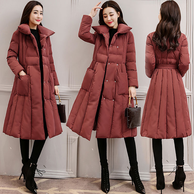 Down Jacket Cotton-padded Clothes Women's 2018 New Style Winter Coat Mid-length Cotton-padded Clothes Thick Down Coat Off Season