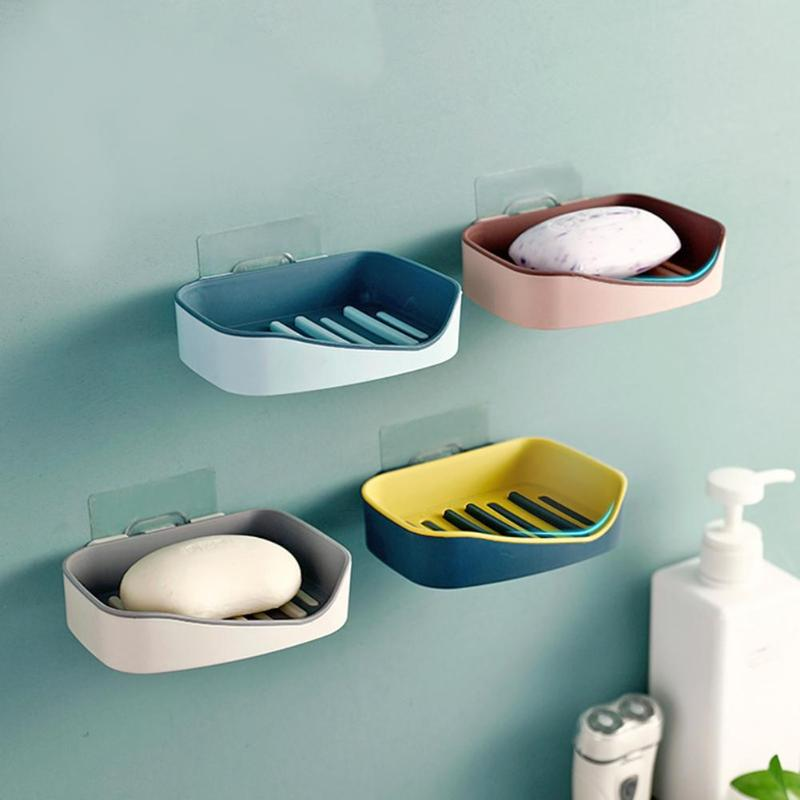 Multifunction Home Portable Soap Dishes PP Bathroom Shower Soap Box Dish Storage Plate Suction Wall Shelf Holder Rack
