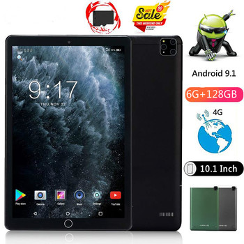 2021 New 10.1 inch Android 9.0 tablet 10 RAM 6GB+128GB ROM 1280x800 HD IPS Screen WiFi GPS Media Pad 4G Phablet Youtube