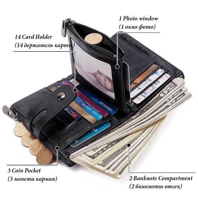 GZCZ Rfid Genuine Leather Men Wallet Coin Purse Small Mini Card Holder Chain PORTFOLIO Portomonee Male Min Walet Free Engraving 3