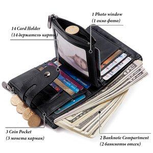 Image 3 - Кошелек GZCZ мужской из натуральной кожи с Rfid защитой, маленький бумажник с монетницей, мини кредитница с цепочкой, портмоне для мужчин, без потерь, с бесплатной гравировкой