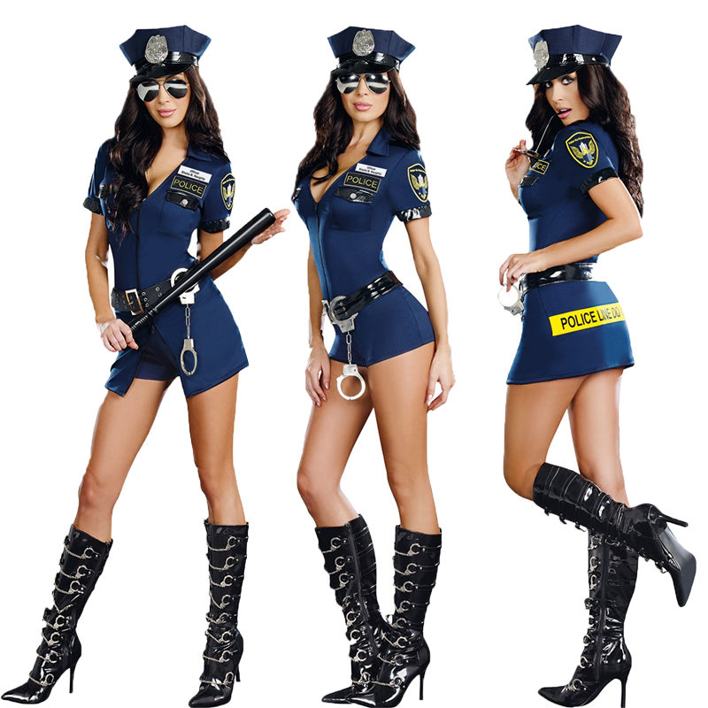 Sexy Police Woman Performing Suit Cosplay Costume Set Uniform For Halloween Sexy Temptation Prom Night Club Outfit Free Shipping