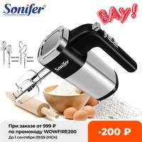 Sonifer-batidor de cocina eléctrico Mezclador de alimentos de 500W, máquina mezcladora manual de huevos cromados con ganchos para masa, para dulces y panadería