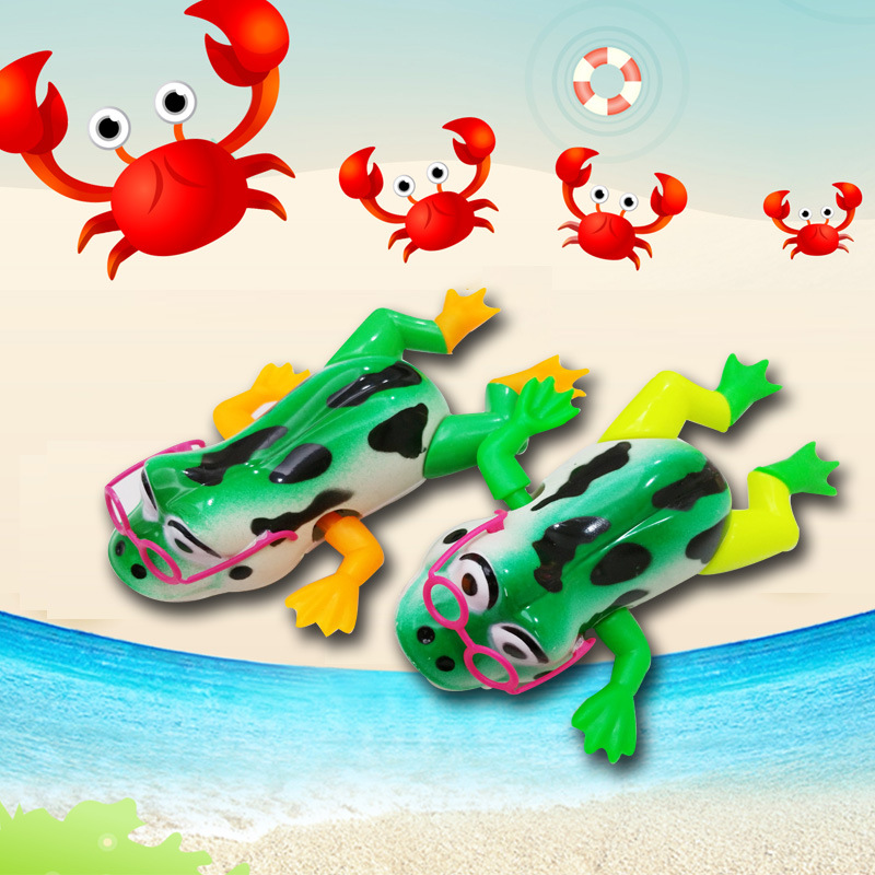 Children Bath Play With Water-Winding On Spring Small Toy Swimming Frog Baby Bath Educational Toy