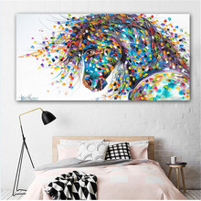 RELIABLI ART Canvas Horse Painting Abstract Colorful Animal Pictures Prints Posters For Living Room Decoration Wall Art Unframed