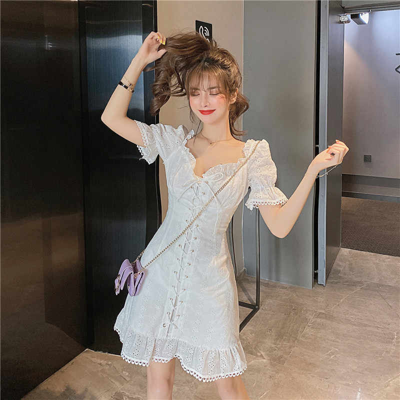 SINGRAIN kadınlar 2020 yeni şık mor kısa elbise Retro kare yaka puf kollu İpli elbise moda kore Streetwear elbise