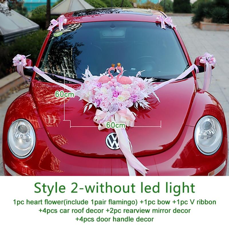Wedding Artificial Flowers with Flamingo Led Light Car Decoration DIY Silk Flower Valentine's Day Set Wedding Wreath Party Decor - 5