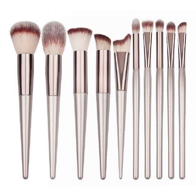 10 Size Luxury Makeup Brushes Wooden Foundation Cosmetic Eyebrow Eyeshadow Brush Sets Cosmetics Tools brochas maquillaje