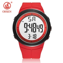 Digital Men Military Sport Watch reloj hombre Red 50M Diver Silicone bracelet me
