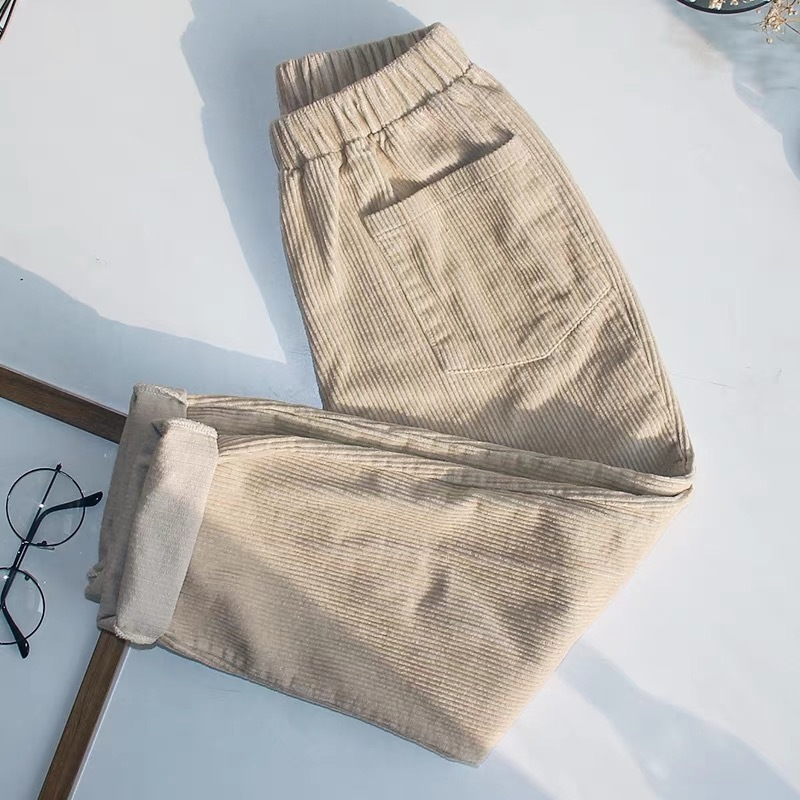 Women's Corduroy Trousers High Waist Loose Black Straight Sports Long Pants Female Casual Large Size Sweatpants