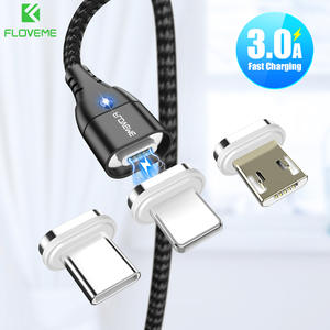 FLOVEME Magnetic-Cable Wire-Cord iPhone-Lighting Microusb Type-C for Fast-Charging 1M