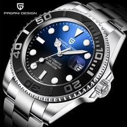 PAGANI Мужские автоматические часы, сапфировые роскошные механические наручные часы из нержавеющей стали водонепроницаемые мужские часы