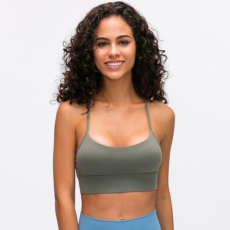 Image 4 - SHINBENE Y Type Lengthen Verison Padded Running Gym Workout Bras Women Naked feel Fabric Plain Sport Yoga Bras Fitness Crop TopsSports Bras   -