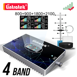 Lintratek 70dB B20 800 900 1800 2100 2600 Vier-Band Cellulaire Signaal Booster 2G 3G 4G gsm 4G Repeater Versterker Dcs Lte Wcdma Kit