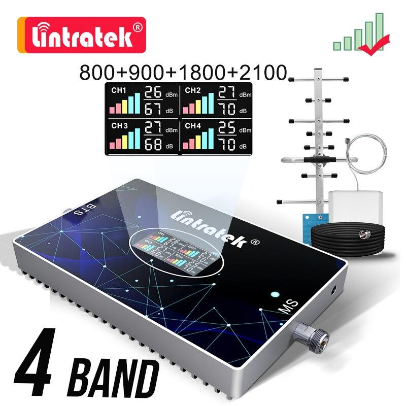 Lintratek 70db b20 800 900 1800 2100 2600 reforço de sinal celular de quatro faixas 2g 3g 4g gsm 4g repetidor amplificador dcs lte wcdma kit