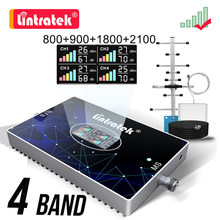 Lintratek Four Band Booster B20 800 900 1800 2100 2600 Cellular Signal Amplifier 2G 3G 4G 4G LTE GSM Repeater Yagi Antenna Set