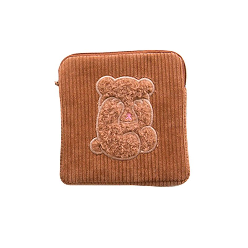 Portable Corduroy Sanitary Towel Storage Case Bag Holder Napkin Pad Organizer