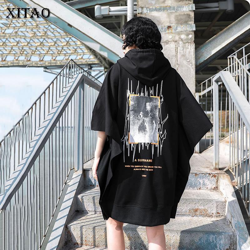XITAO Tide Brand Bat Sweatshirt Mid-length Printed Women Tops Fashion Loose Plus Size Hoodies Women Streetwear Clothes DMY4302
