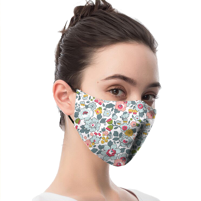 Masks Cartoon Animal Flower Print Reusable PM2.5 Filter Mouth-Muffle anti dust Face mask bacteria proof Flu Mask Adult Washable 1