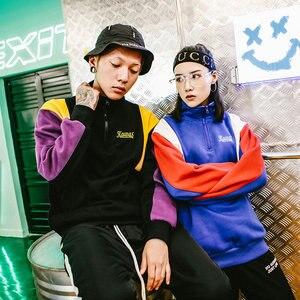 Image 5 - Толстовка в стиле Харадзюку, с цветными блоками, Мужская Уличная Толстовка в стиле хип хоп, винтажная толстовка с капюшоном на молнии, хлопковая, флисовая, зимняя, осенняя, 2020