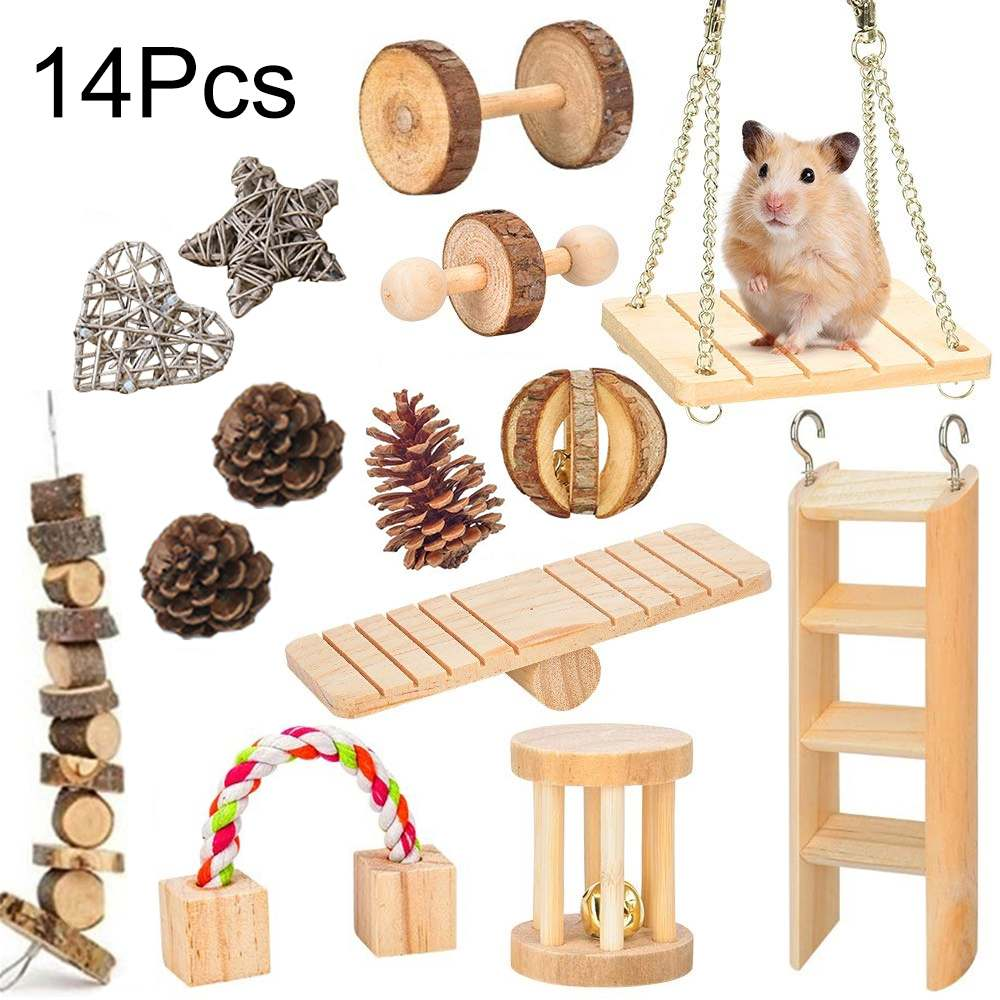 Natural Wooden Hamster Rabbits Toys Pine Dumbells Unicycle Bell Roller Chew Toys For Guinea Pigs Rat Small Pet Molars Supplies