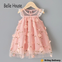 New Summer Lovely Style Girl Party Birthday Embroidery Lace Mesh Dress Baby Super Beautiful Gauze Skirt Princess Vestido TZ0028