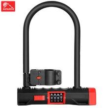 цена на U Lock Anti theft Bicycle Code Lock MTB Road Bike Lock Password 4 Digit Cycling Accessories Motorcycle Bicycle Lock with mount