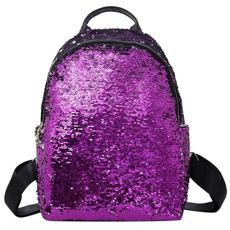 ABDB-Women Sequins Backpack Teenage Girls Fashion Schoolbag Casual Travel Bling Rucksack Holographic Backpack