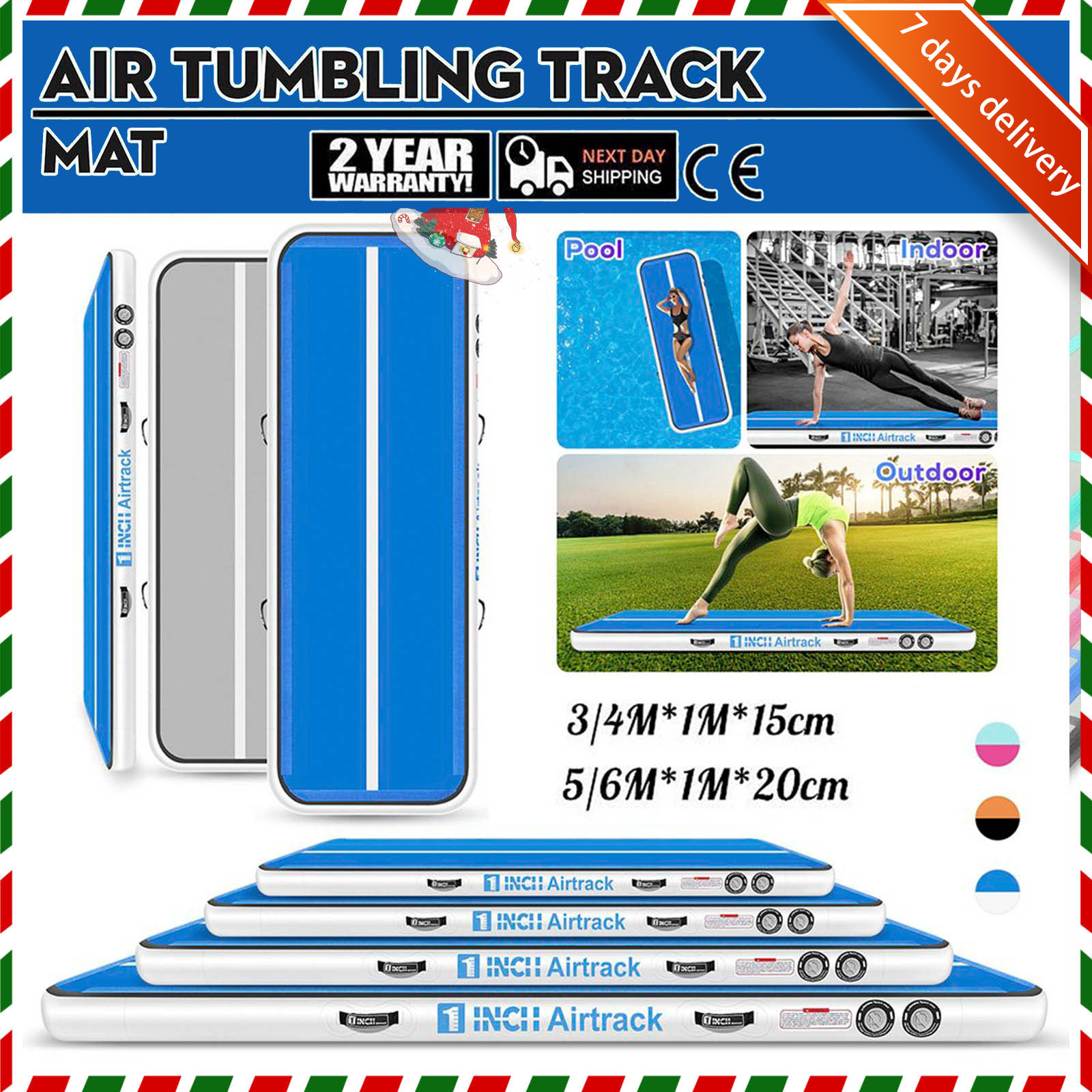 Rimdoc 4M Tumble Airtrack Floor Gym Air Track for Christmas Gift for <font><b>Kids</b></font> Yoga Olympics Tumbling with free Electronic Pump Home image