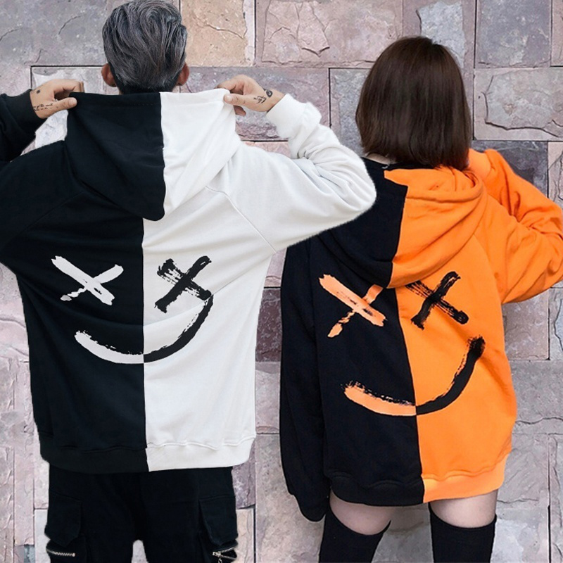 Smile Hoodies Sweatshirts Couple Oversized Patchwork Hip-Hop Print Streetwear Men Winter title=