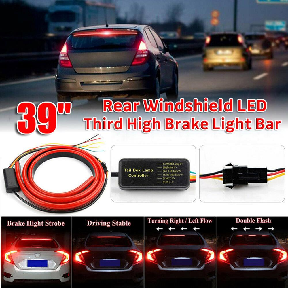 "12V Universal 39"" Car/Truck Flexible Soft LED Rear Window Strip Lights Bar w/ 4 Light Modes"