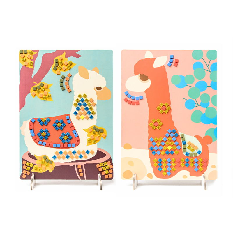 Alpaca Mosaic Diamond Stickers Cartoon Paste 3-6 Year Old Kids Diy Toy Children Elephant Handmade Material Kit Birthday Gift