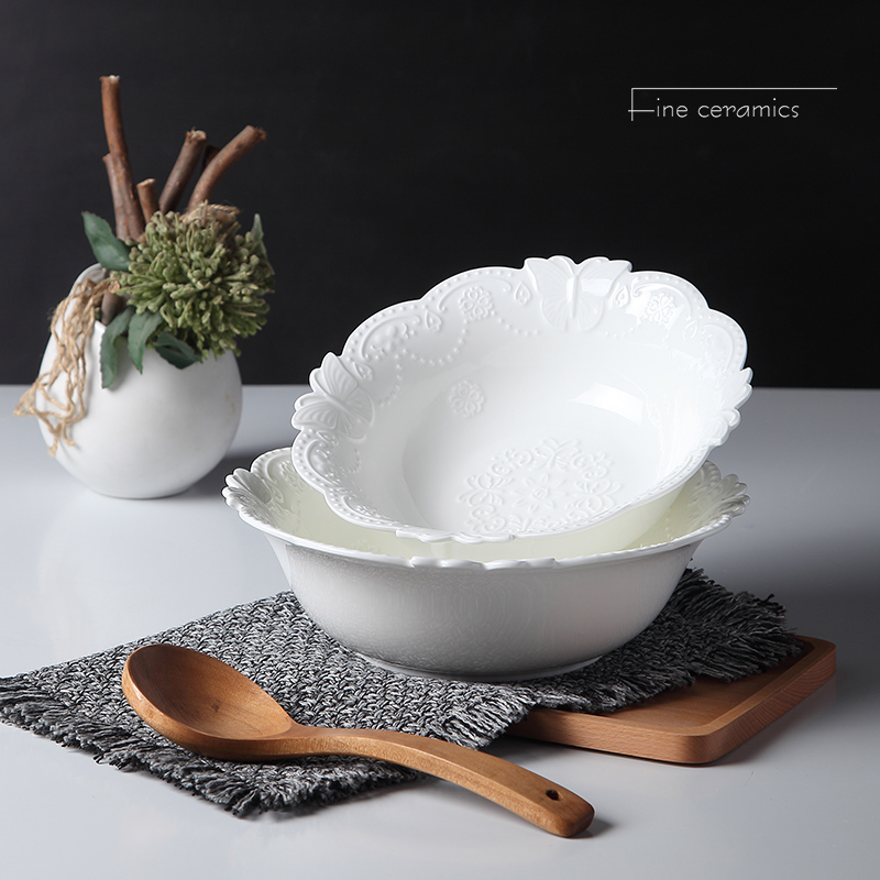 9inch, white embossed porcelain soup dinner serving bowl. ceramic mixing bowls for baking, butterfly design, kitchen cooking