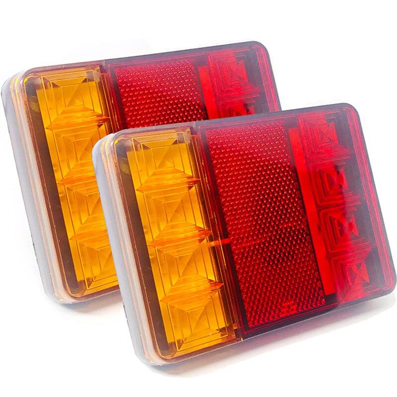 2 pçs à prova dwaterproof água 8 carro conduziu a luz da cauda lâmpadas traseiras par barco reboque 12v peças traseiras para o caminhão de reboque iluminação do carro à prova dip65 água ip65
