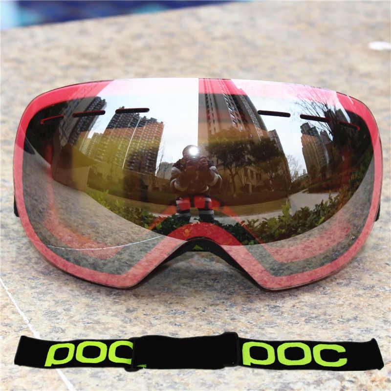 Брендовые лыжные очки POC для мужчин и женщин, зимние незапотевающие лыжные очки с бесплатной двухслойной маской, очки для сноуборда UV400