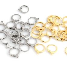 Earring-Hook Base Jewelry-Making-Accessories Ear-Setting Stainless-Steel French Earwire