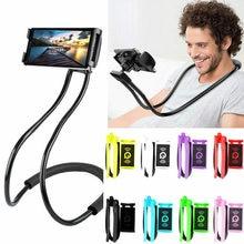 Suporte do telefone móvel preguiçoso pendurado pescoço suporte do telefone suporte de colar cama telefones de 360 graus suporte para iphone para huawei