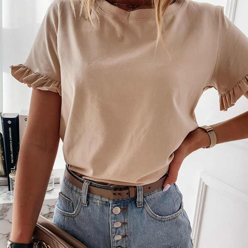여성 짧은 꽃잎 슬리브 O 넥 T-셔츠 여름 오버 사이즈 화이트 캐주얼 여성 Tshirt 2020 패션 세련 된 보라색 T 셔츠 레이디 탑스