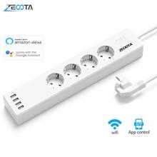 Wifi 스마트 전원 스트립 4 EU 콘센트 USB 충전 포트가있는 16A 플러그 소켓, App 음성 제어 Alexa Google 홈 어시스턴트