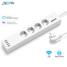 Wifi Smart Power Strip 4 EU Outlets 16A Plug Socket with USB Charging Port,App Voice Control Work By Alexa Google Home Assistant