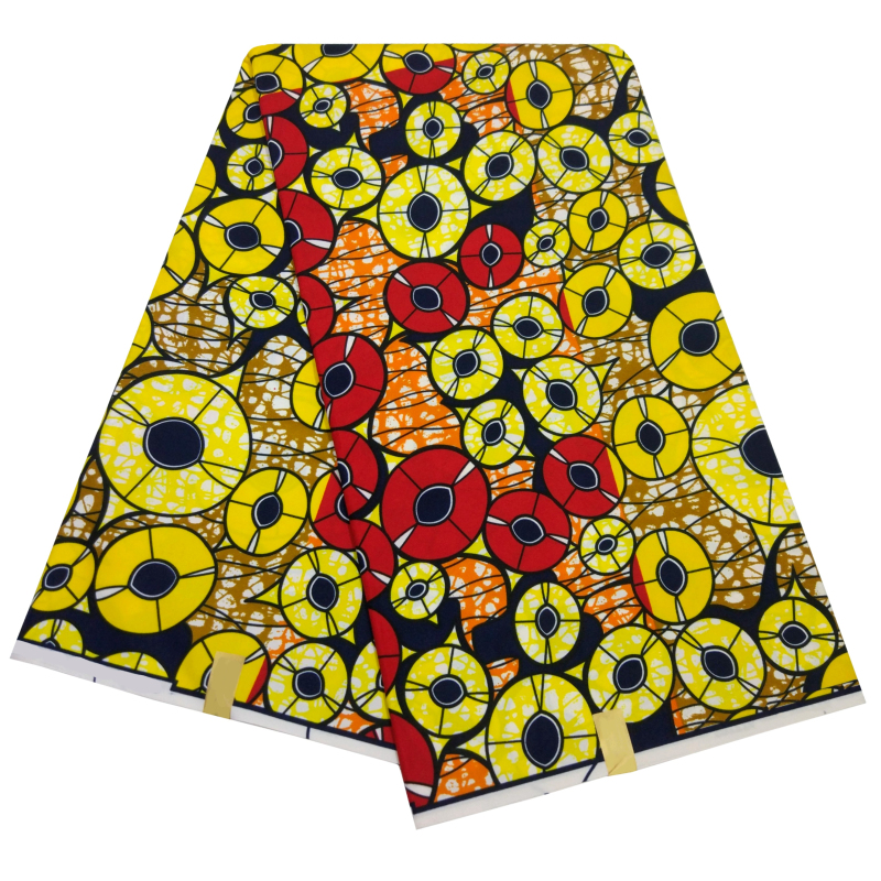 African Ankara Fabric Veritable Wax 6 Yards/Piece New Fashion Veritable Real Wax Print Yellow African Fabric Batik Wax For Women
