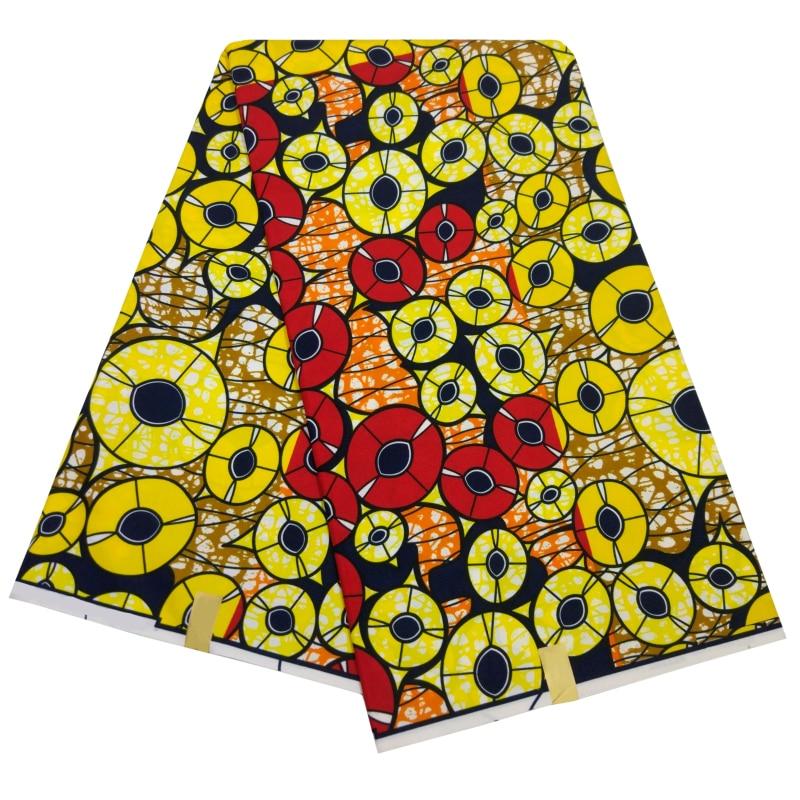 African Ankara Fabric Veritable Wax 6 Yards/Piece New Fashion Veritable Real Wax Print Yellow African Fabric Batik Wax For Women