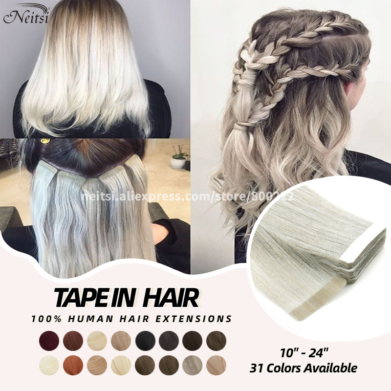 Neitsi Straight Adhesive Hair Invisible Machine Remy Tape In Human Hair Extensions 10