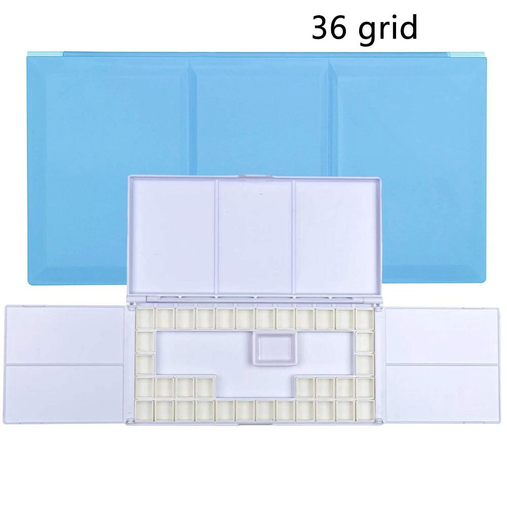 36 Grid Foldable Plastic Storage Finger Hole Artist Gouache Watercolor Case Tray Professional Empty Paint Palette Art Supplies